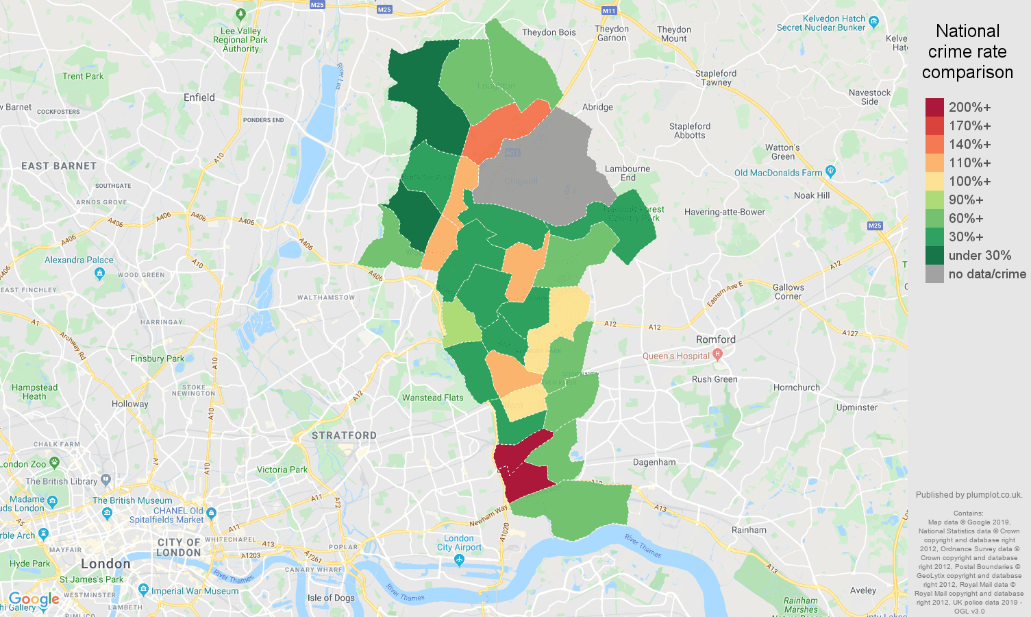 Ilford possession of weapons crime rate comparison map