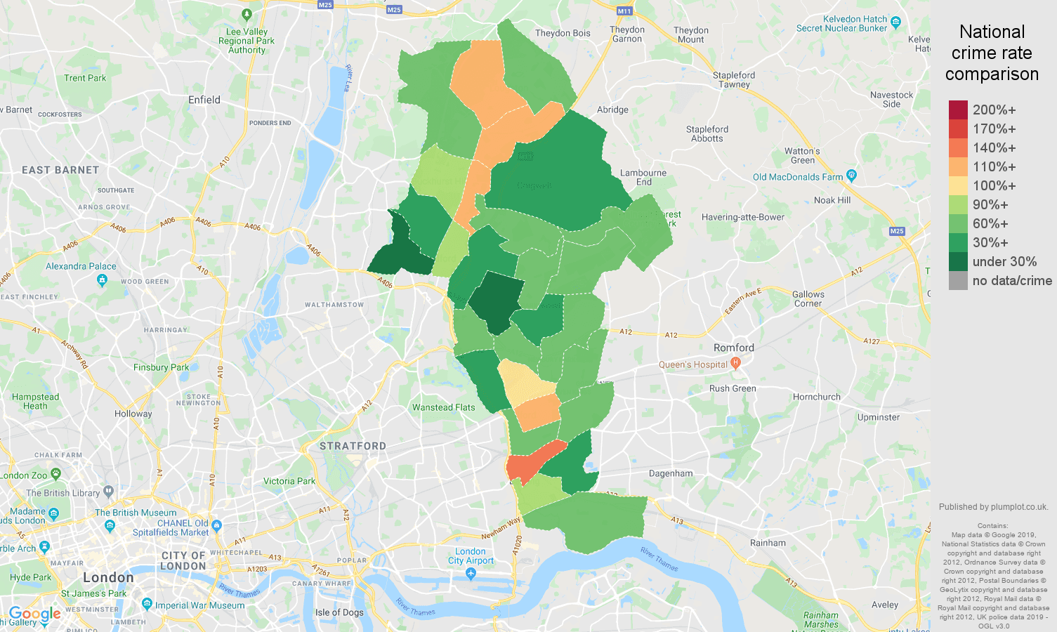 Ilford public order crime rate comparison map