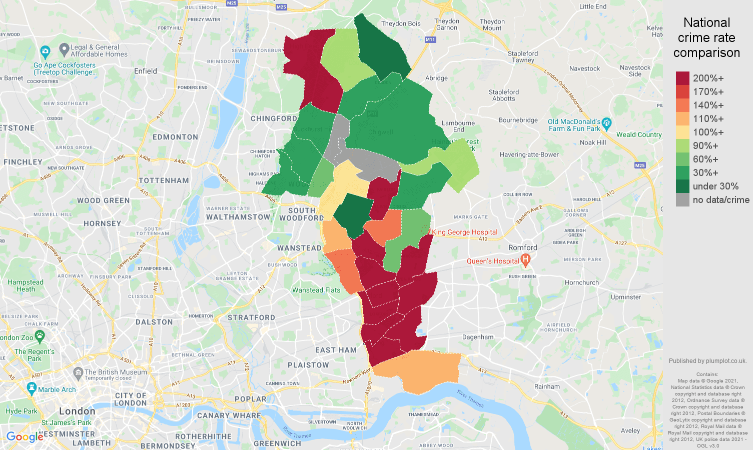 Ilford theft from the person crime rate comparison map