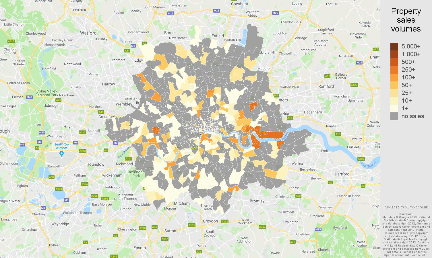 Inner London map of sales of new properties