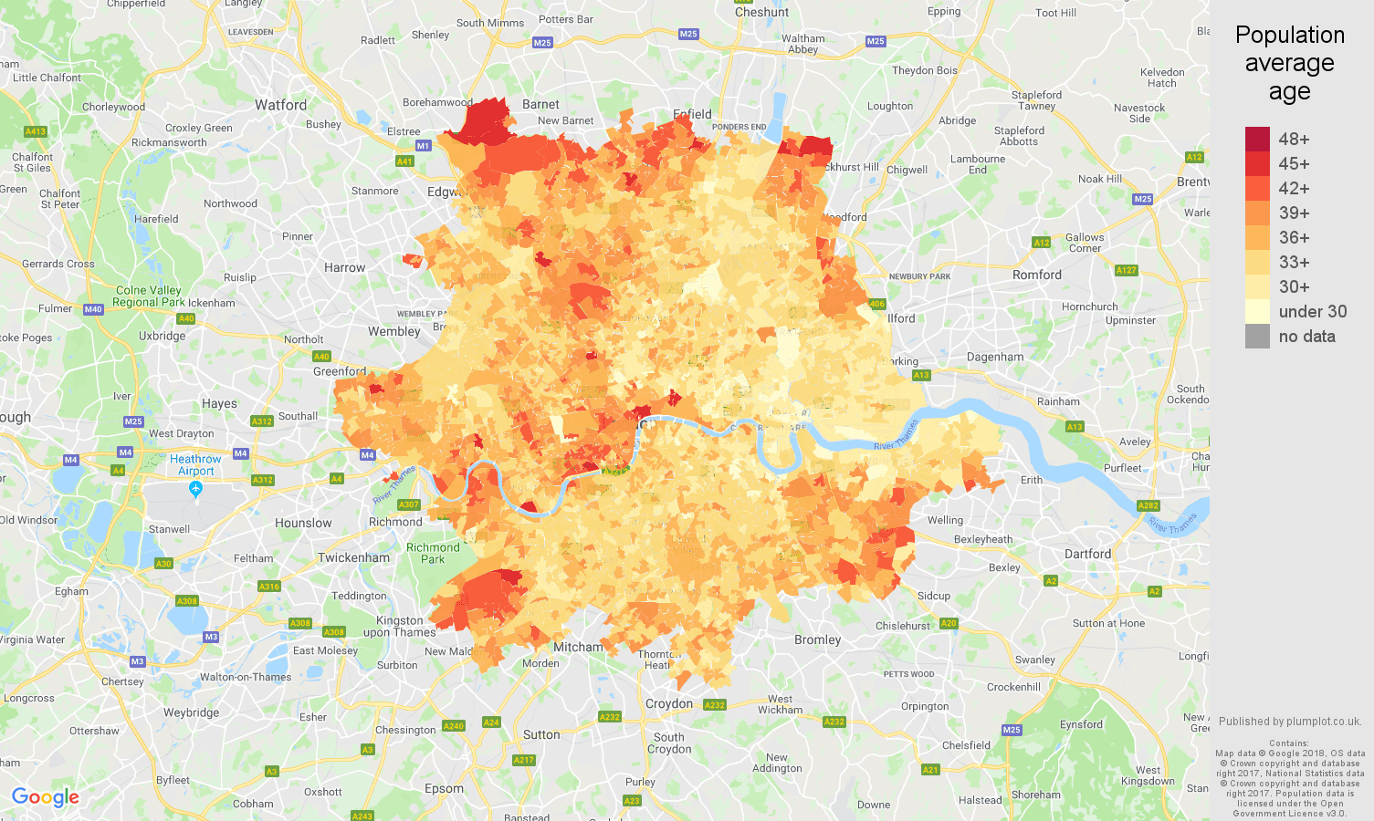 Inner London population average age map