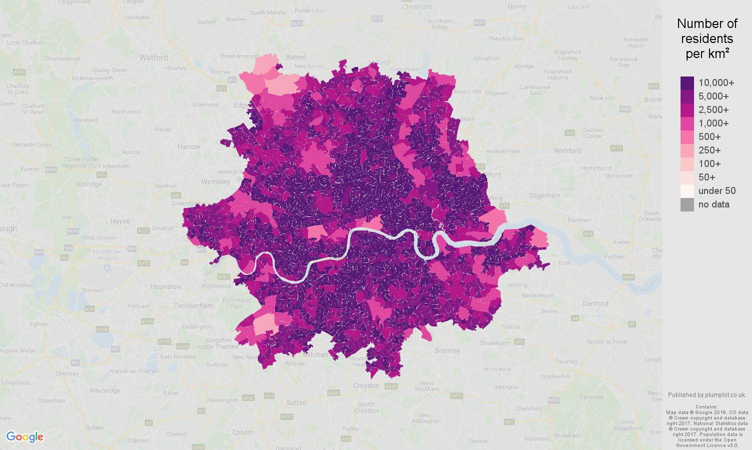 Inner London population density map