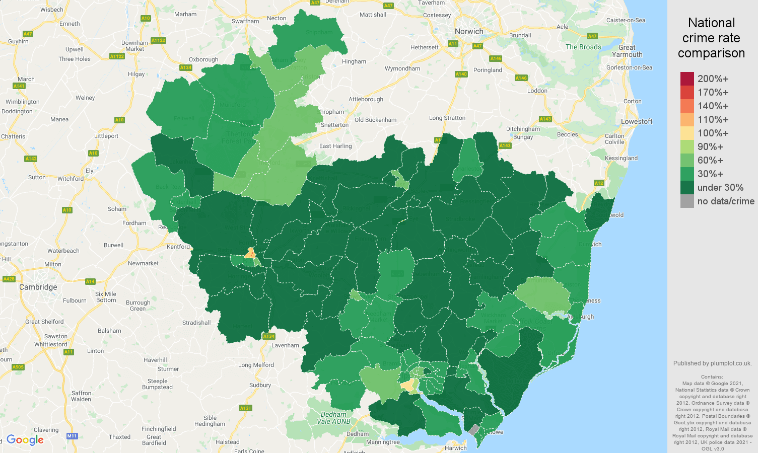 Ipswich antisocial behaviour crime rate comparison map