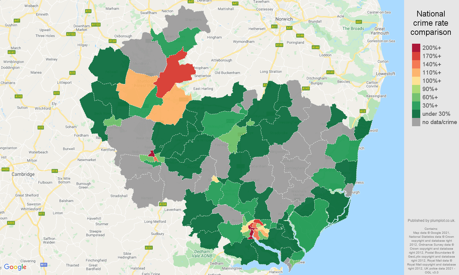 Ipswich bicycle theft crime rate comparison map