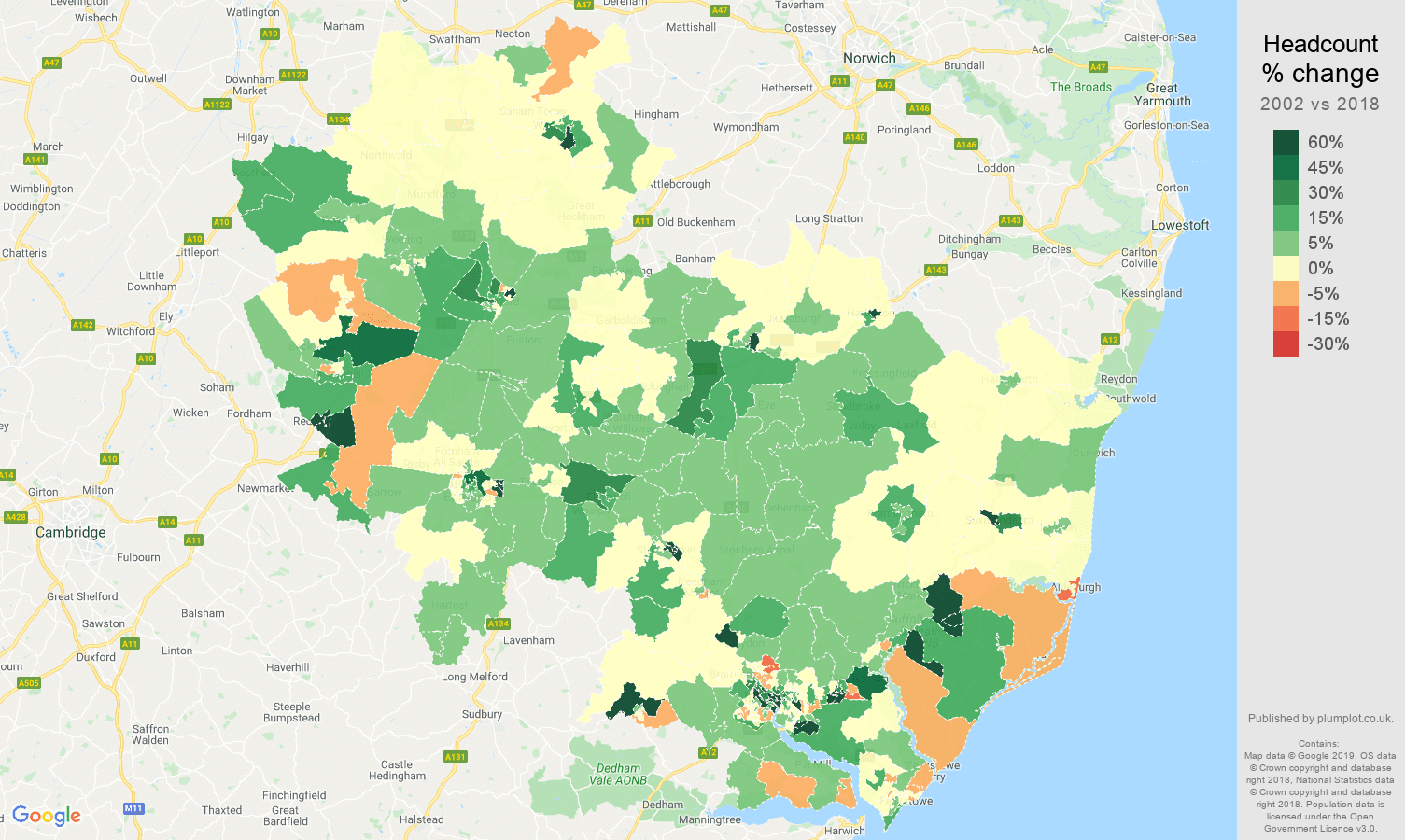 Ipswich headcount change map
