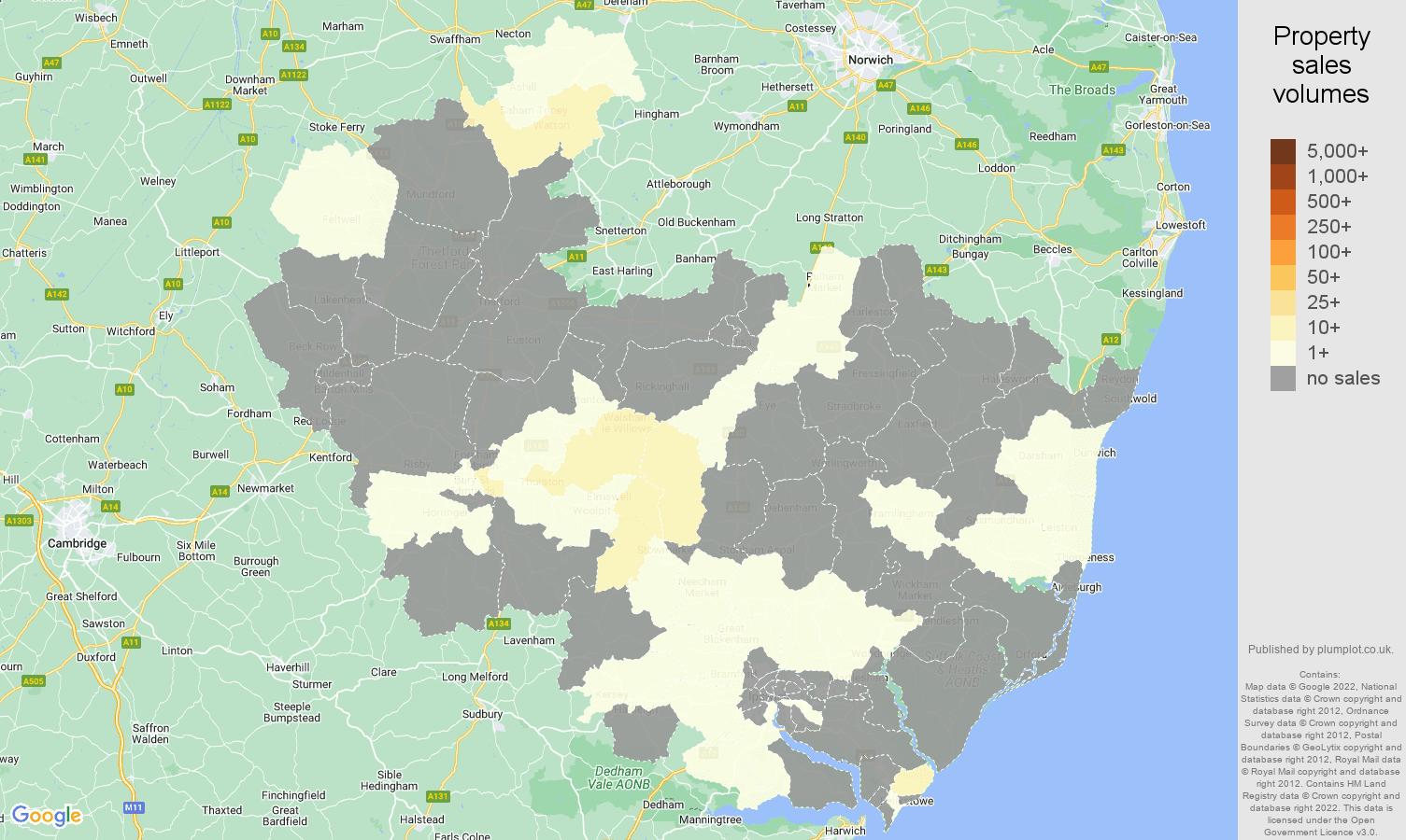 Ipswich map of sales of new properties