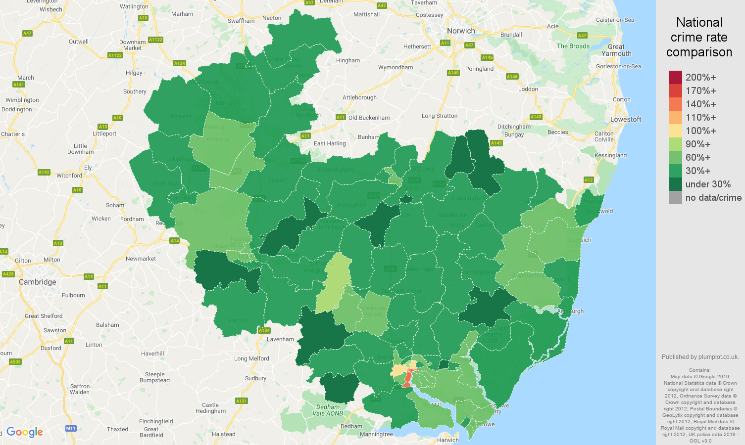 Ipswich other theft crime rate comparison map