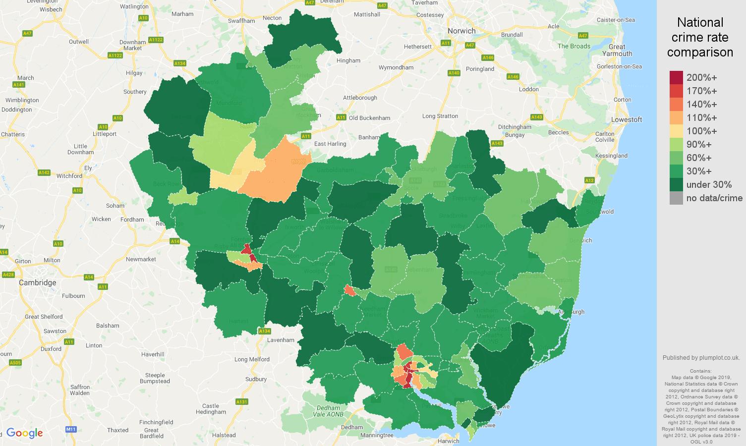 Ipswich public order crime rate comparison map