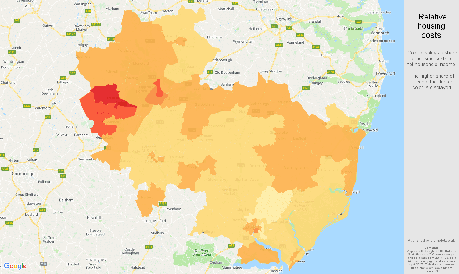 Ipswich relative housing costs map