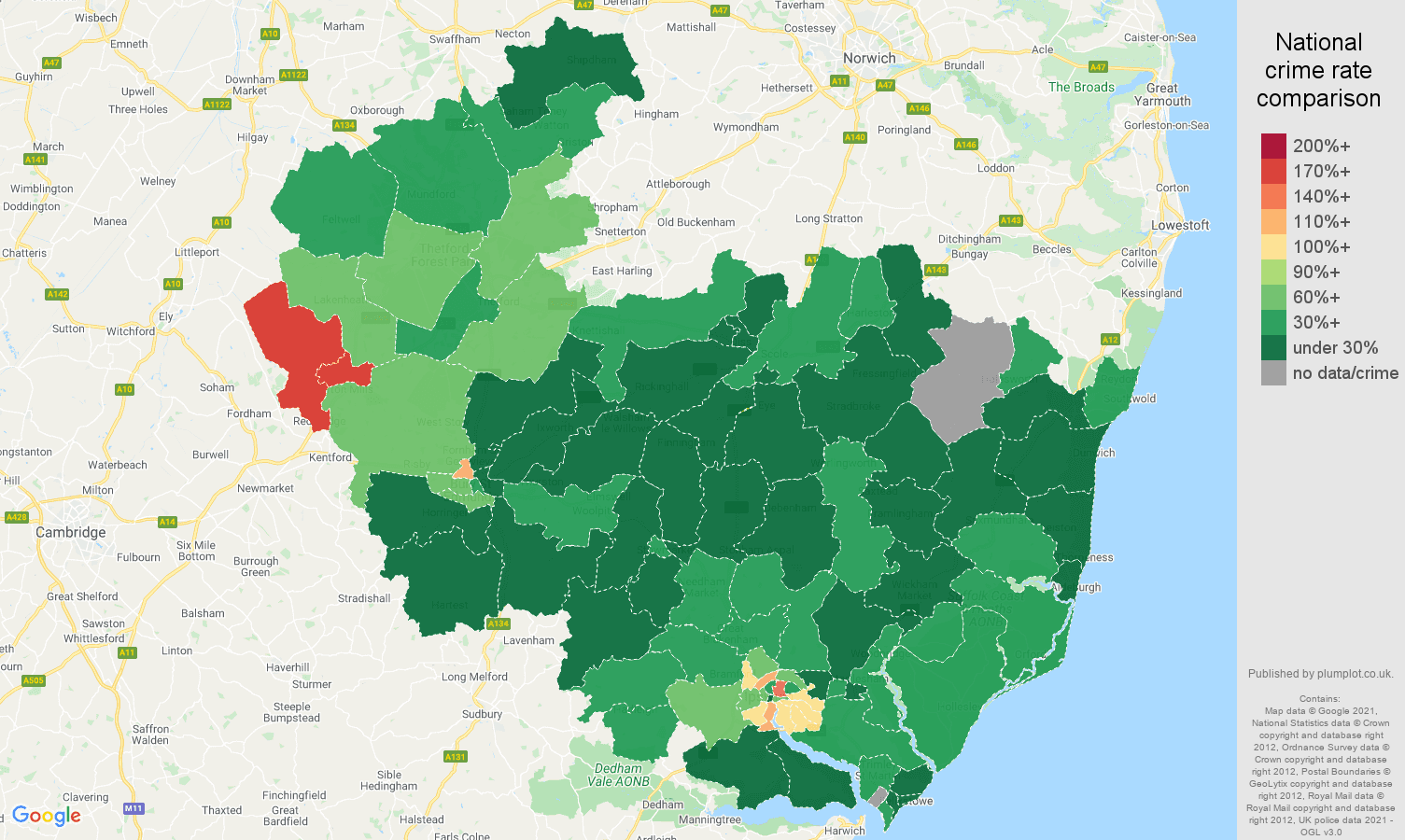 Ipswich vehicle crime rate comparison map