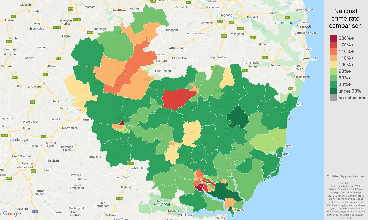 Ipswich violent crime rate comparison map