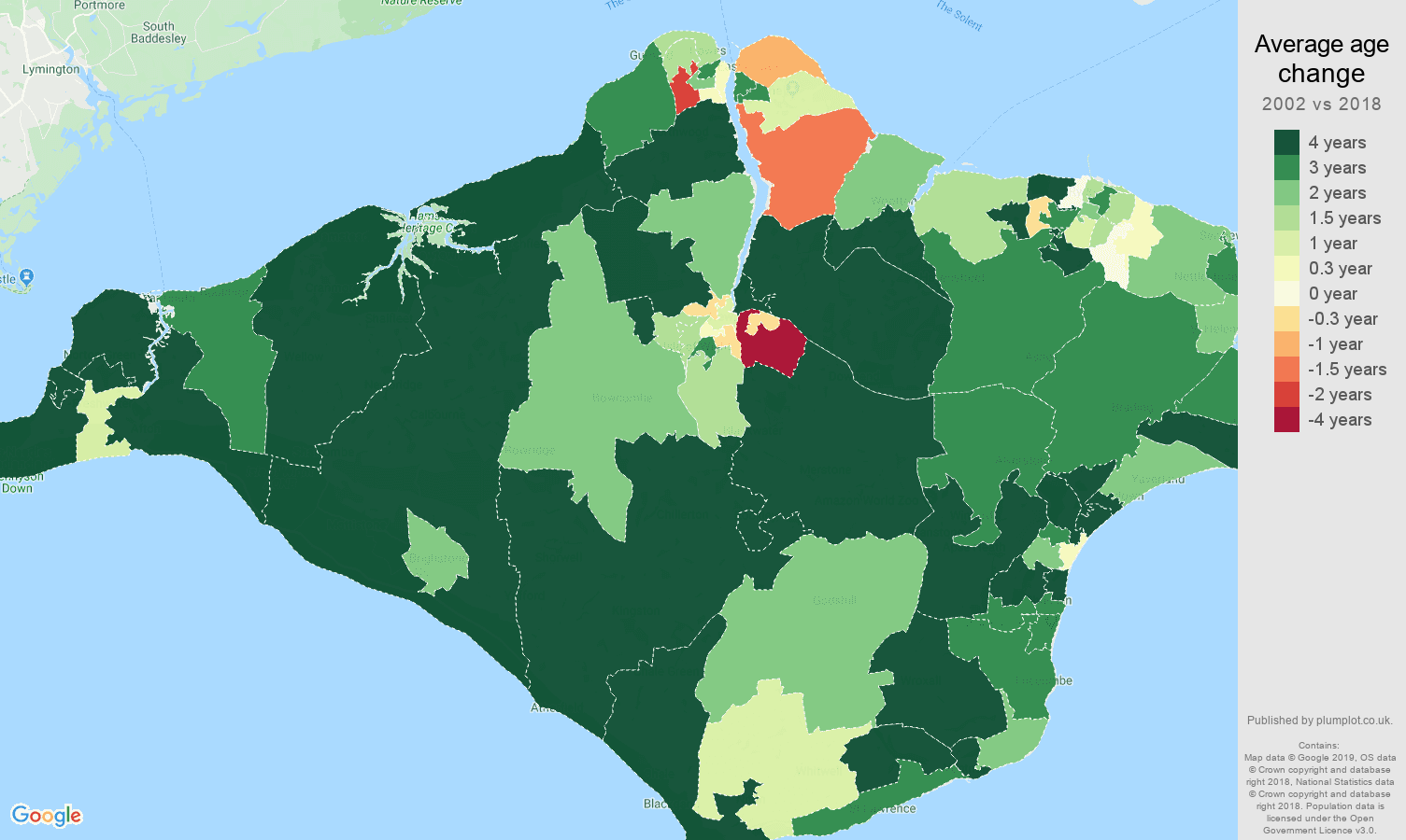 Isle of Wight average age change map