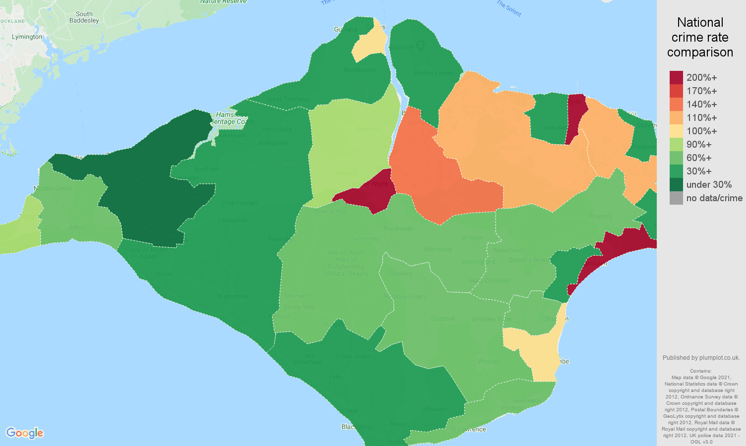 Isle of Wight drugs crime rate comparison map