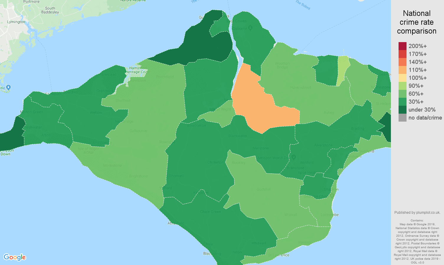 Isle of Wight other theft crime rate comparison map