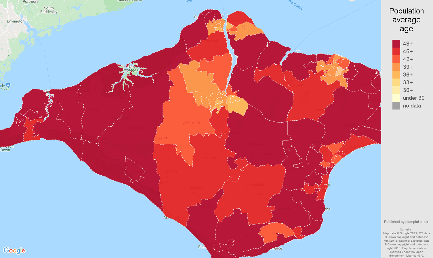 Isle of Wight population average age map