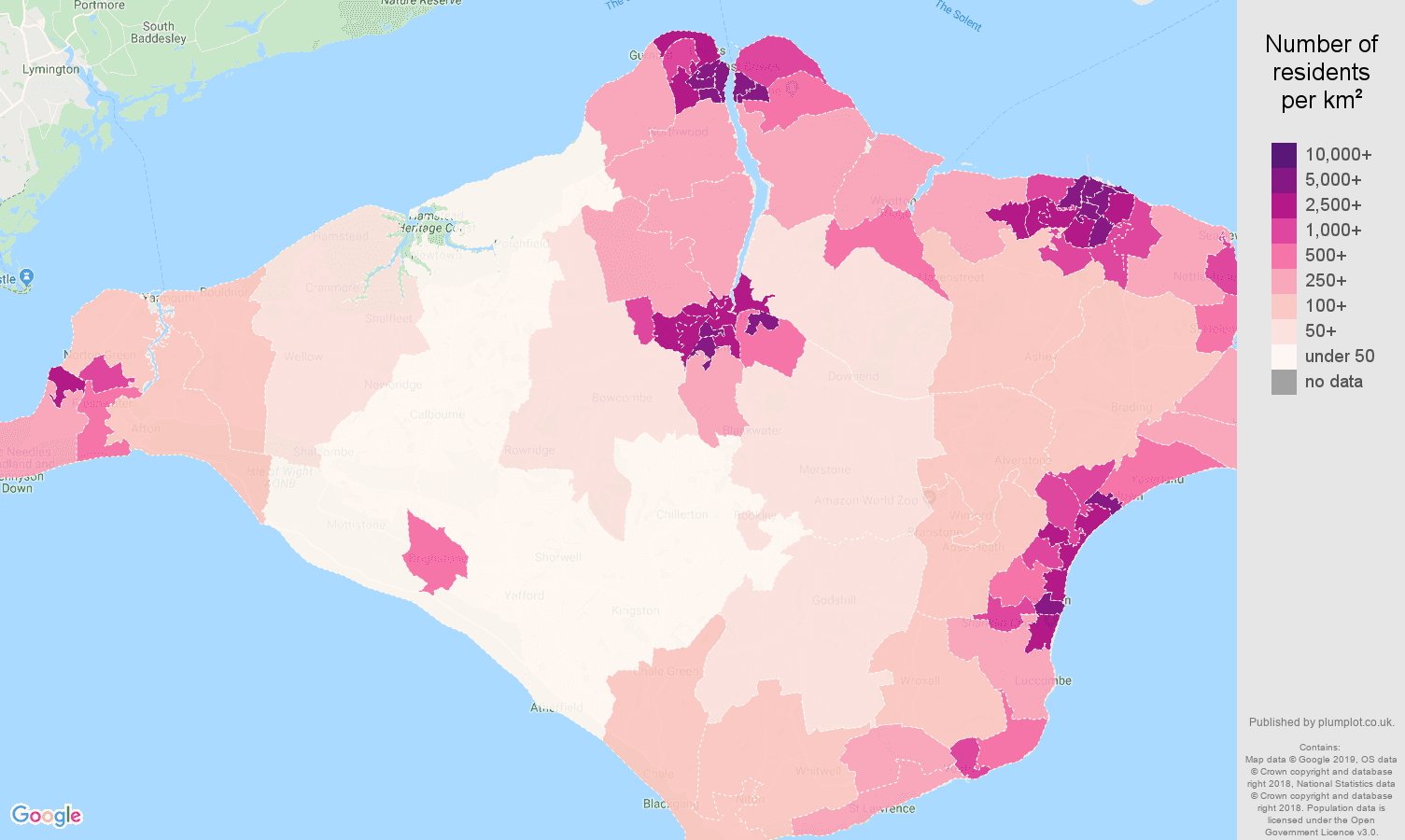 Isle of Wight population density map