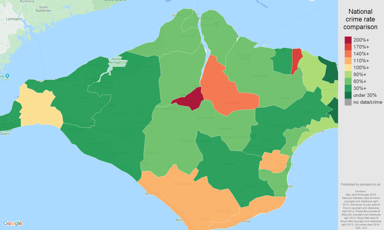 Isle of Wight public order crime rate comparison map