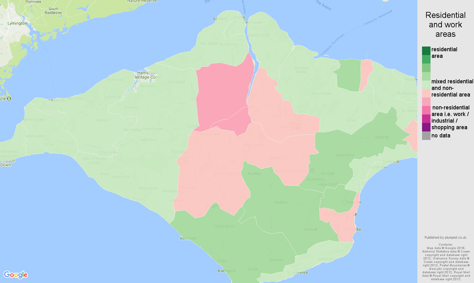 Isle of Wight residential areas map