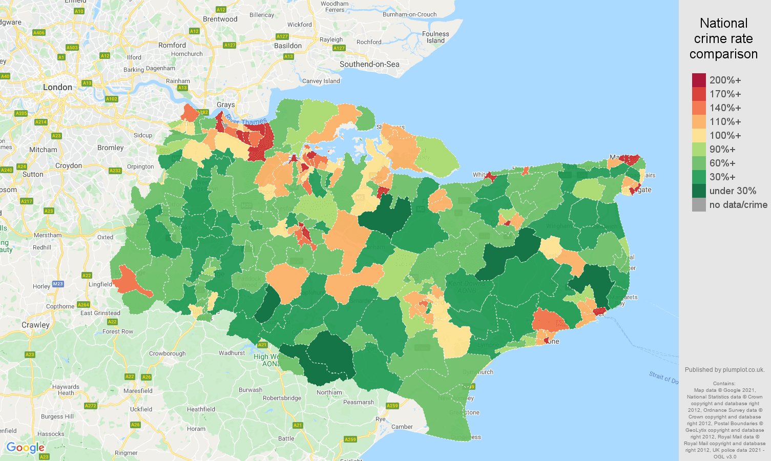 Kent antisocial behaviour crime rate comparison map