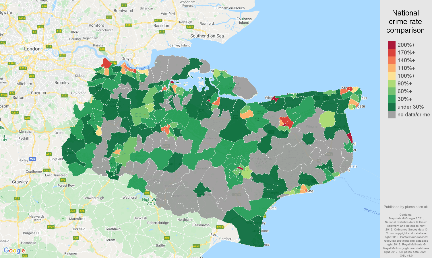 Kent bicycle theft crime rate comparison map