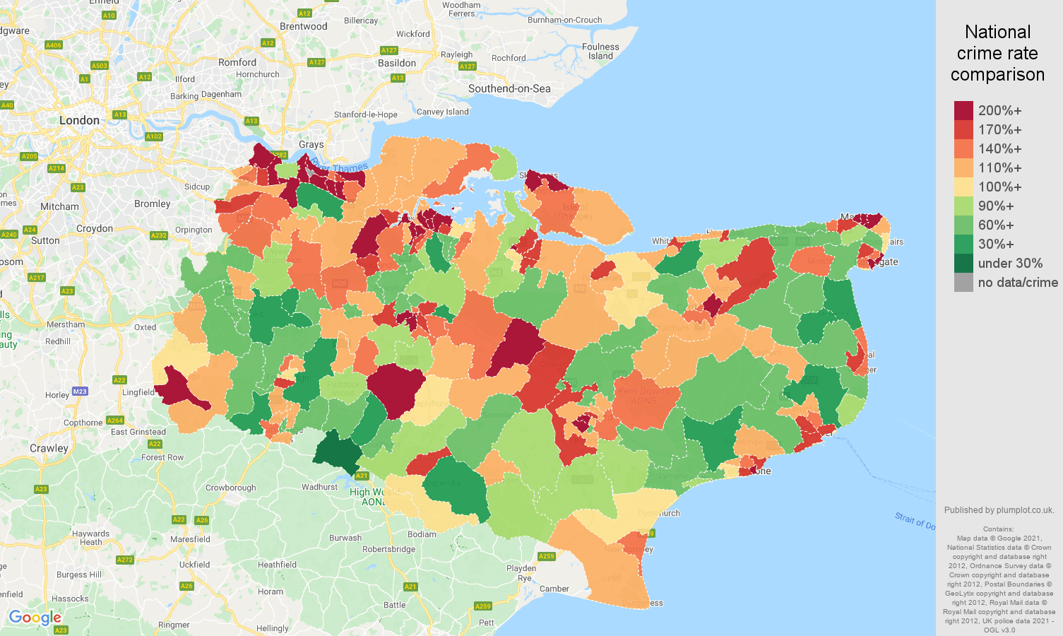 Kent criminal damage and arson crime rate comparison map