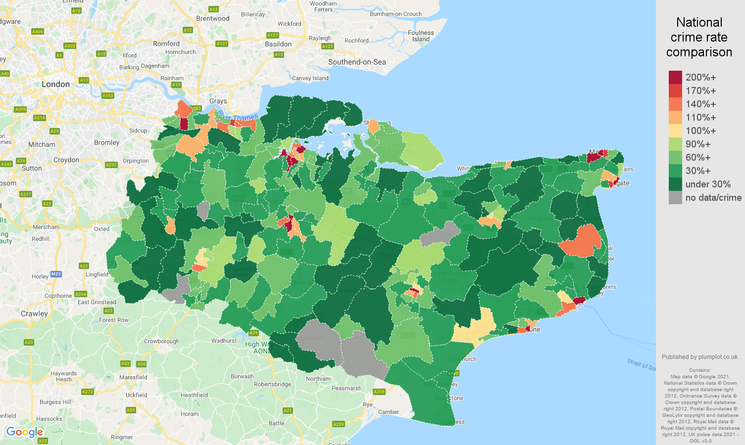 Kent drugs crime rate comparison map