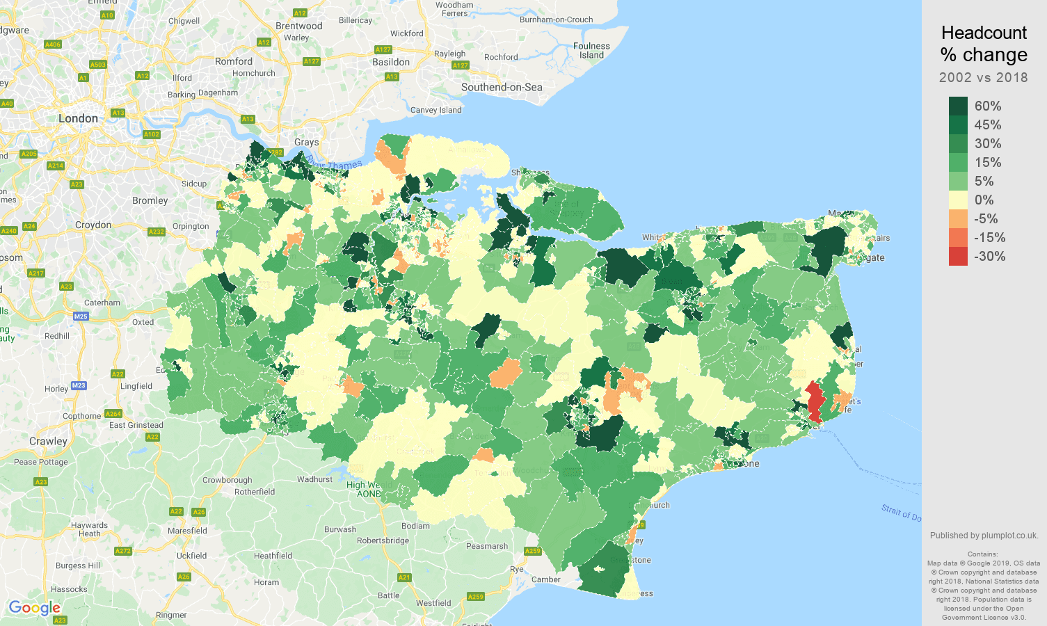 Kent headcount change map
