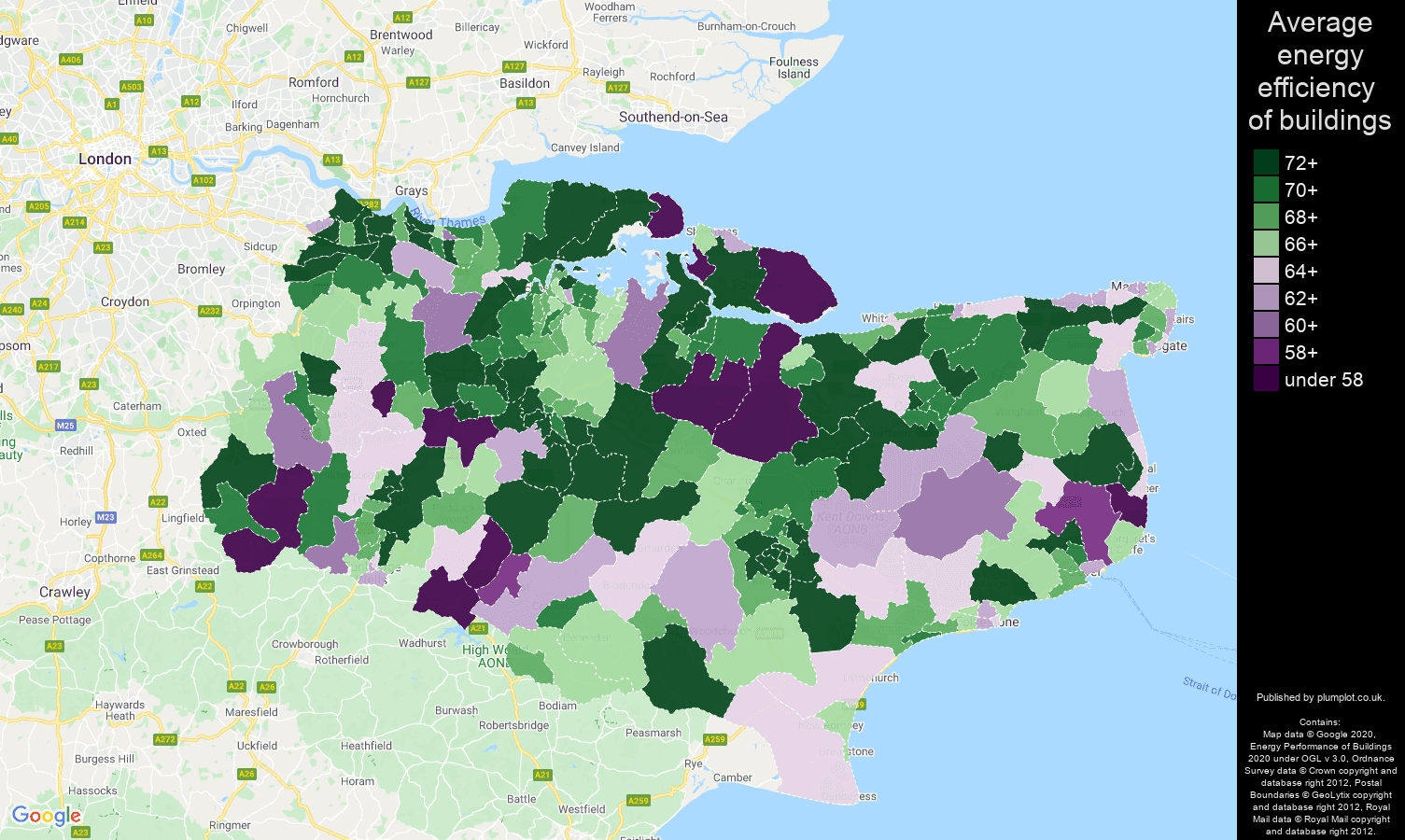 Kent map of energy efficiency of flats