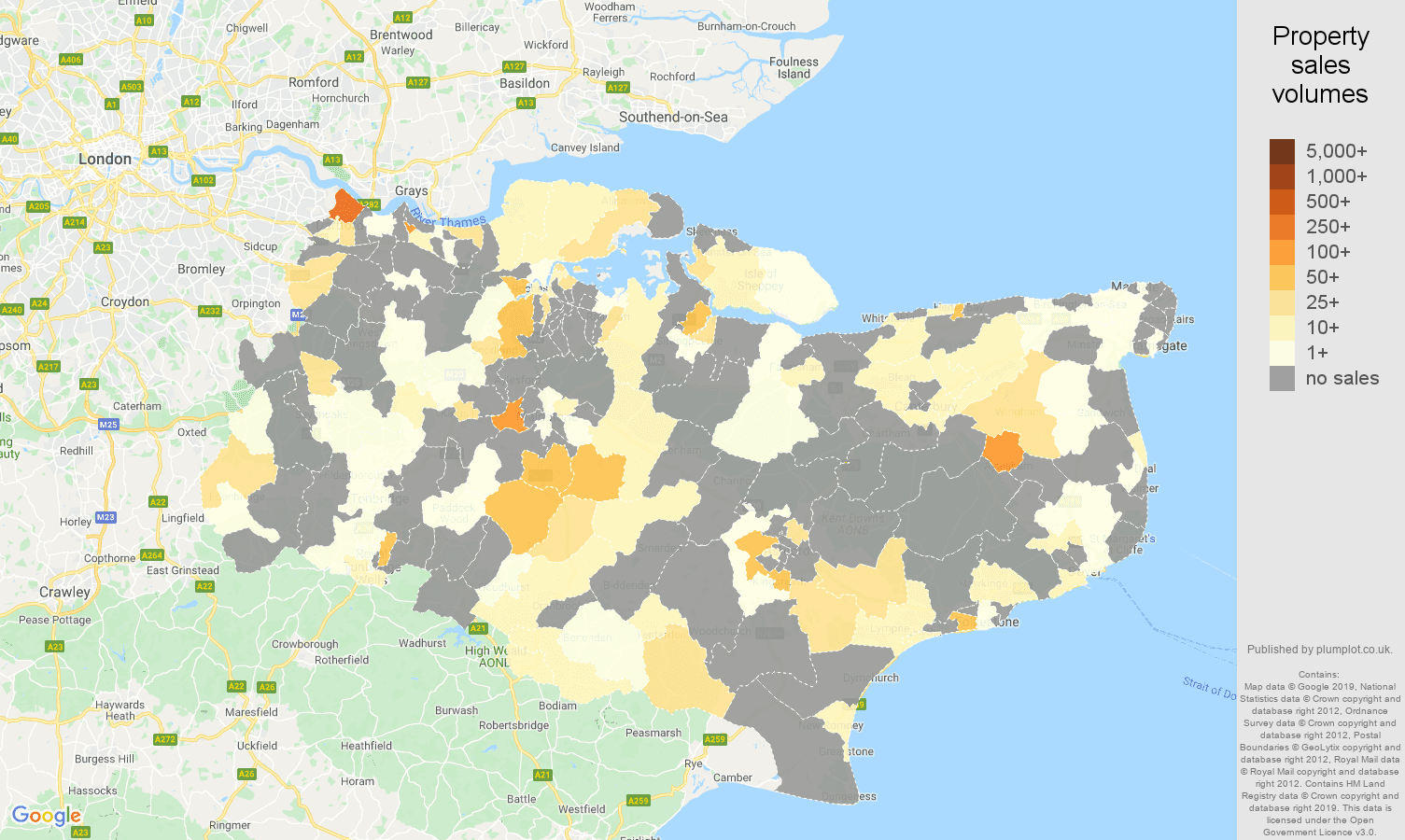 Kent map of sales of new properties