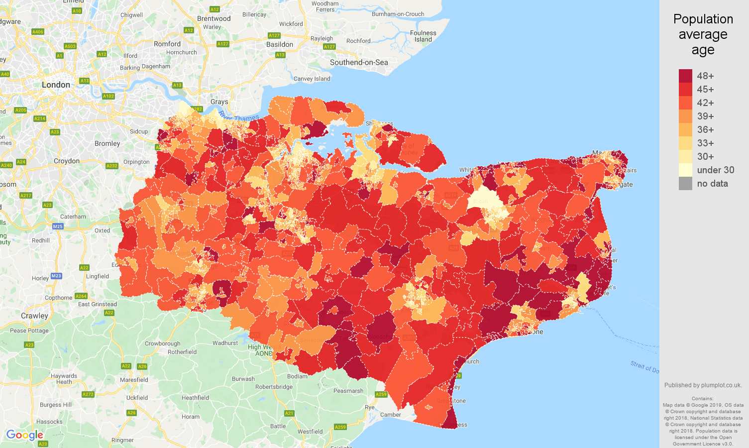 Kent population average age map