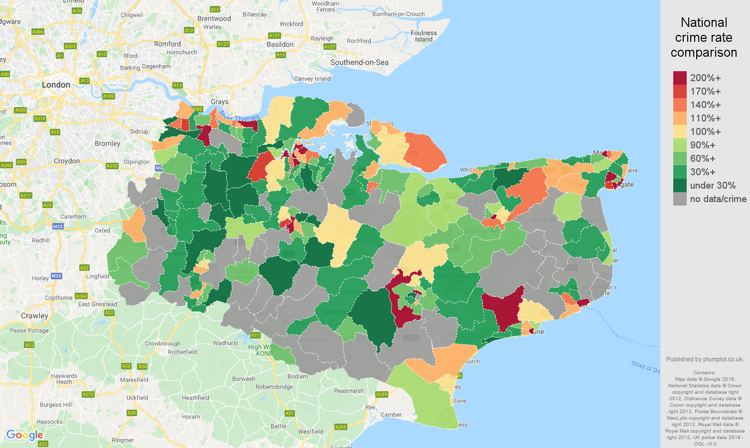 Kent possession of weapons crime rate comparison map