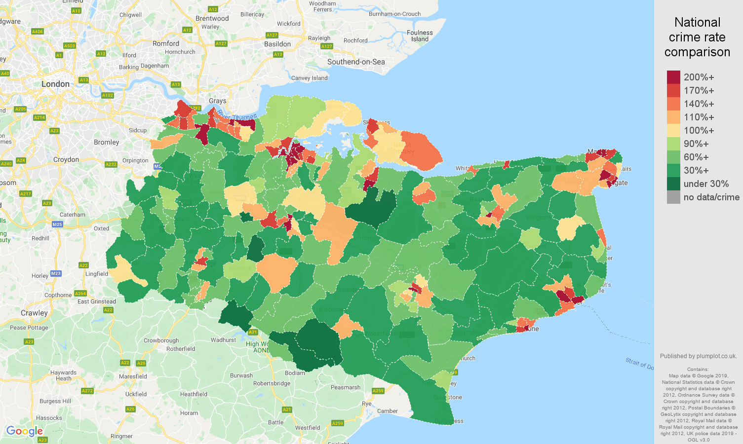Kent public order crime rate comparison map