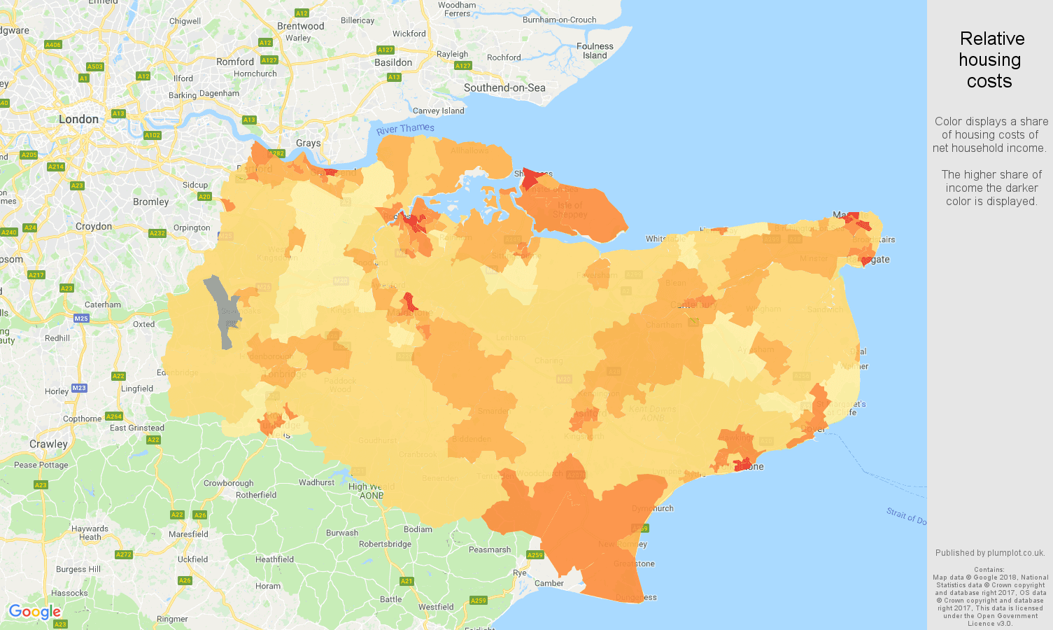 Kent relative housing costs map