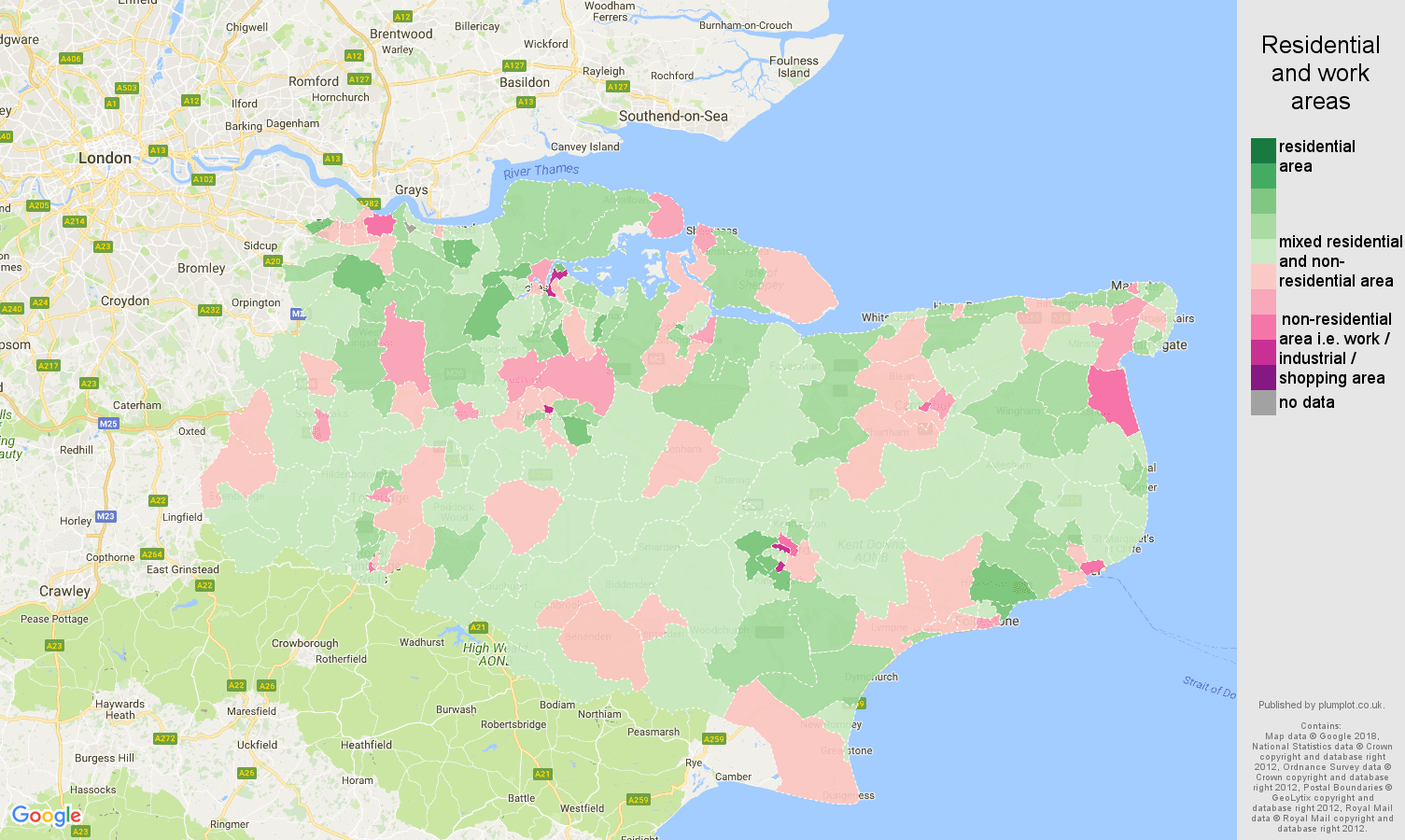 Kent residential areas map