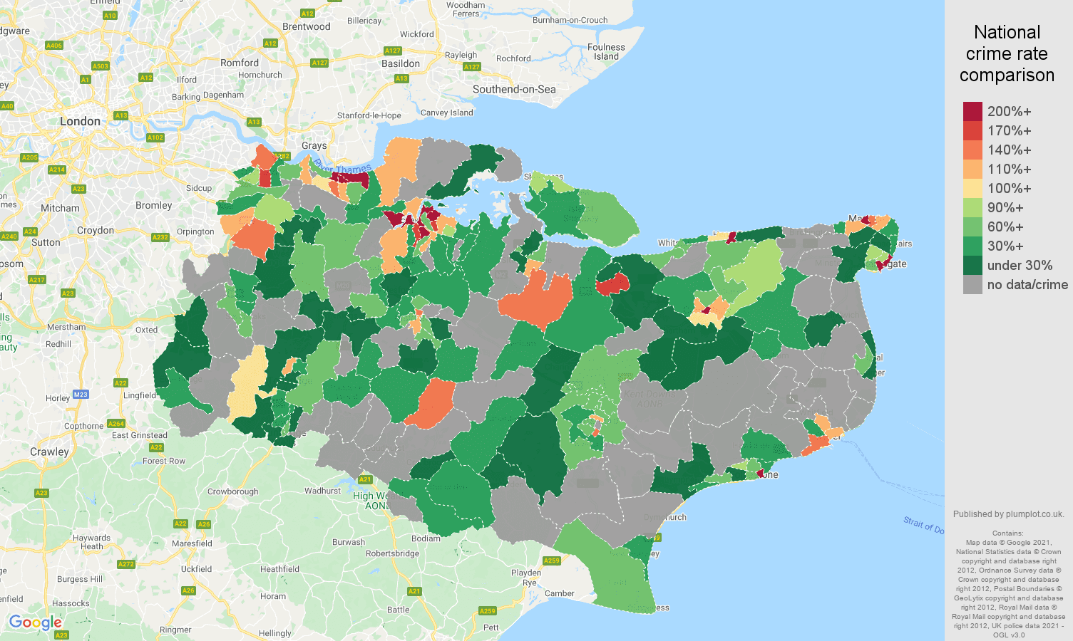 Kent robbery crime rate comparison map