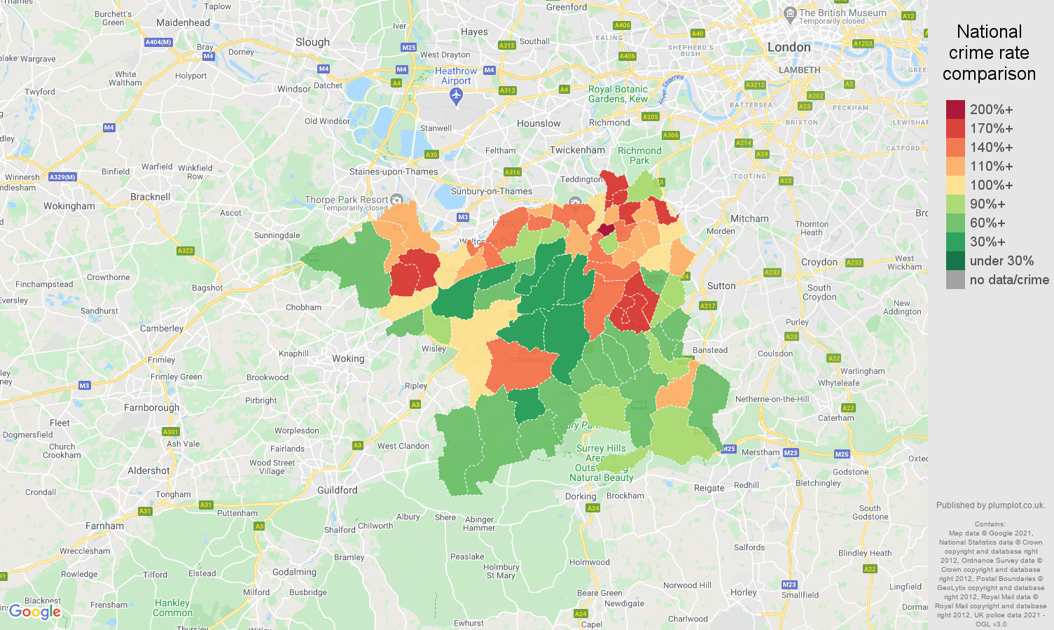 Kingston upon Thames antisocial behaviour crime rate comparison map