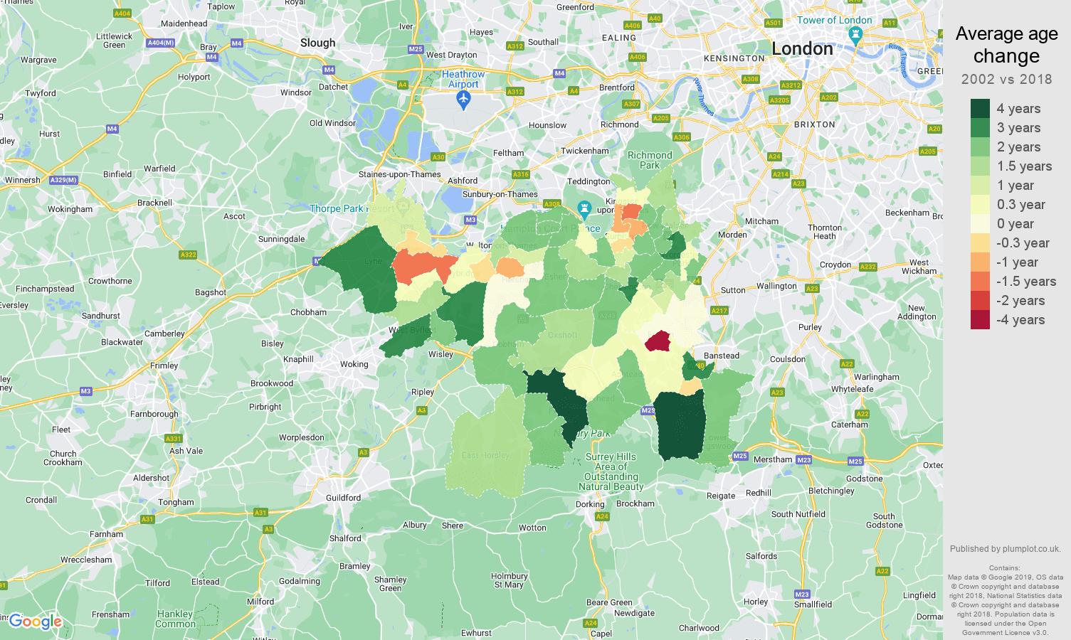 Kingston upon Thames average age change map
