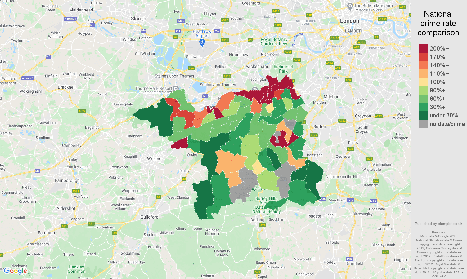 Kingston upon Thames bicycle theft crime rate comparison map