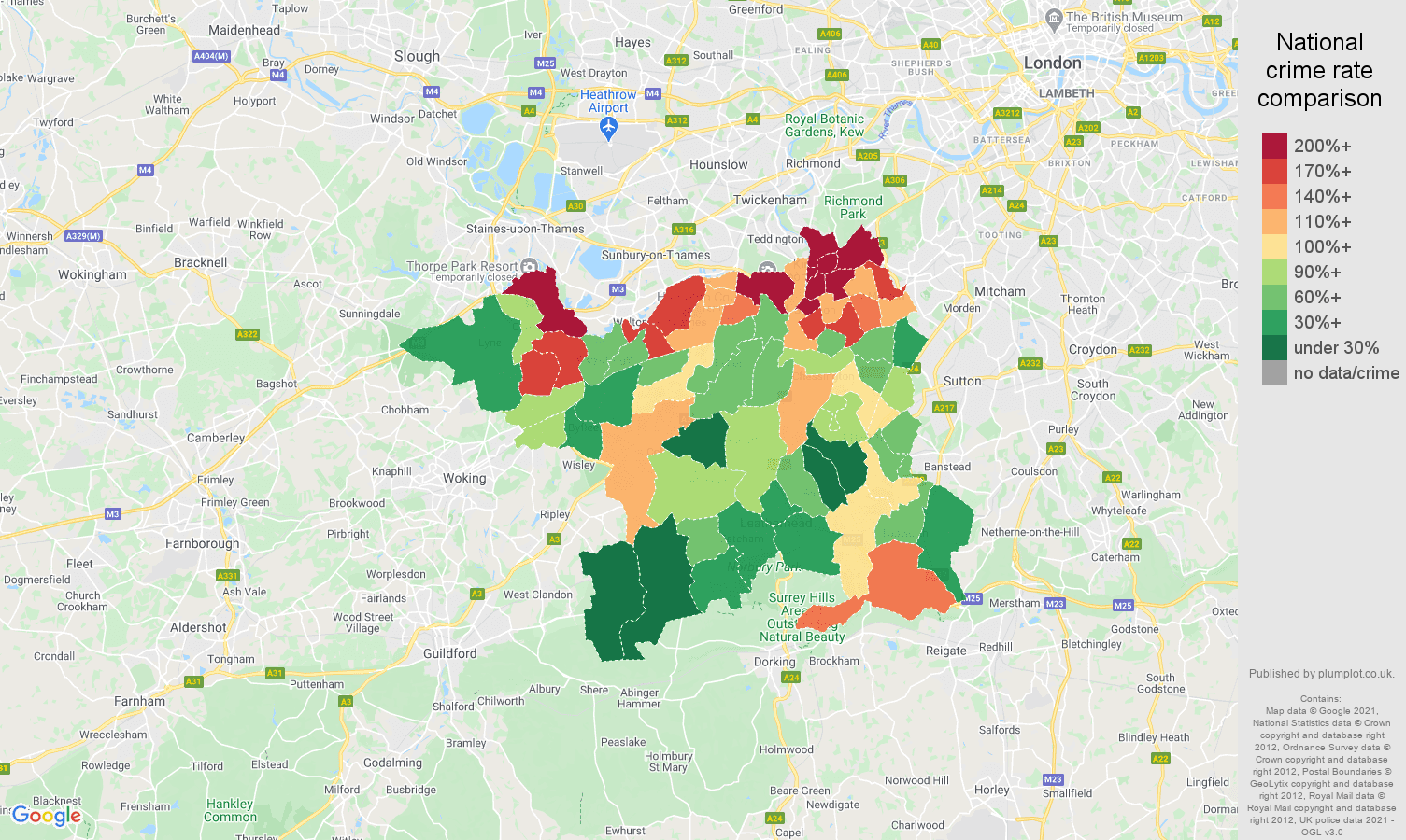 Kingston upon Thames drugs crime rate comparison map