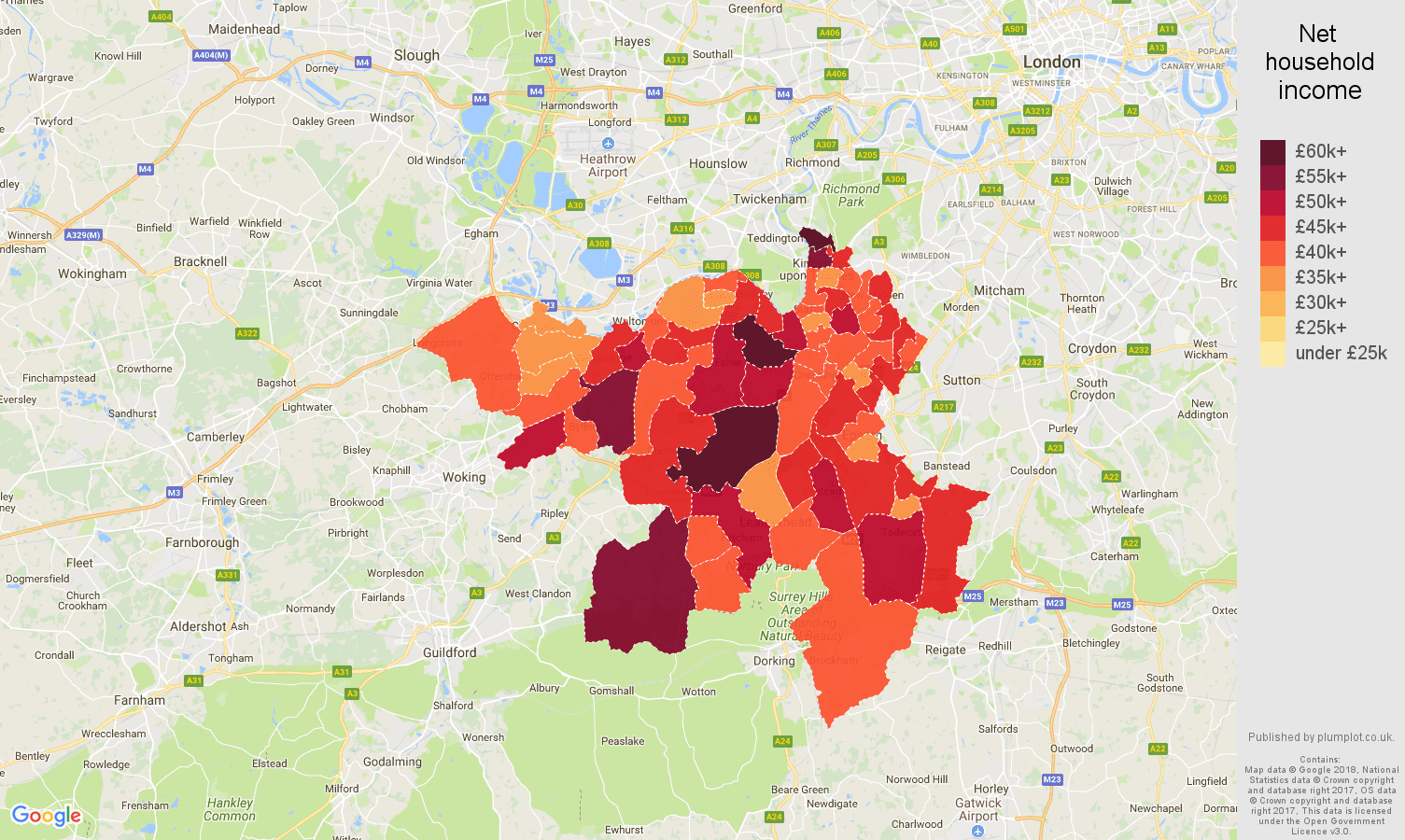Kingston upon Thames net household income map