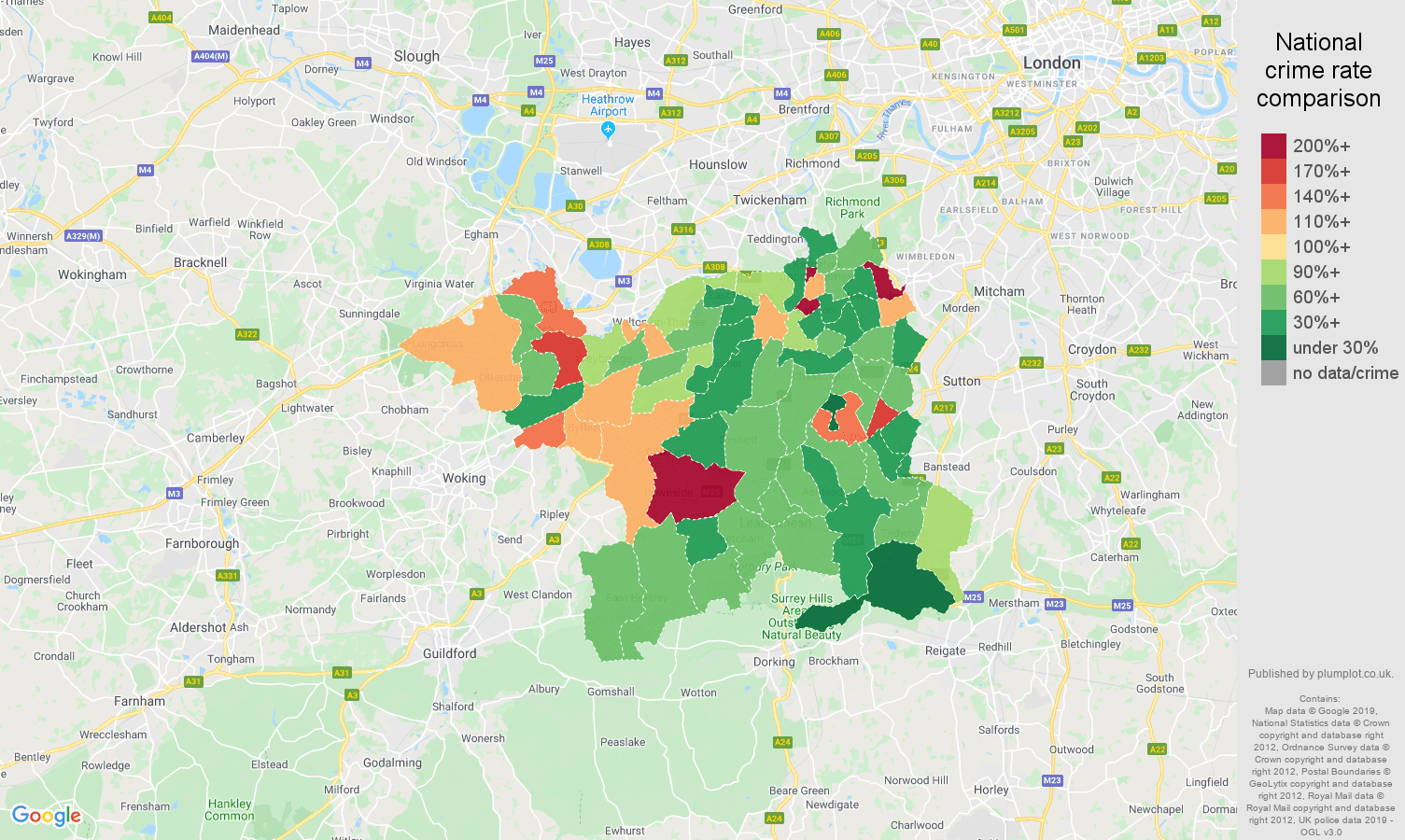 Kingston upon Thames other theft crime rate comparison map