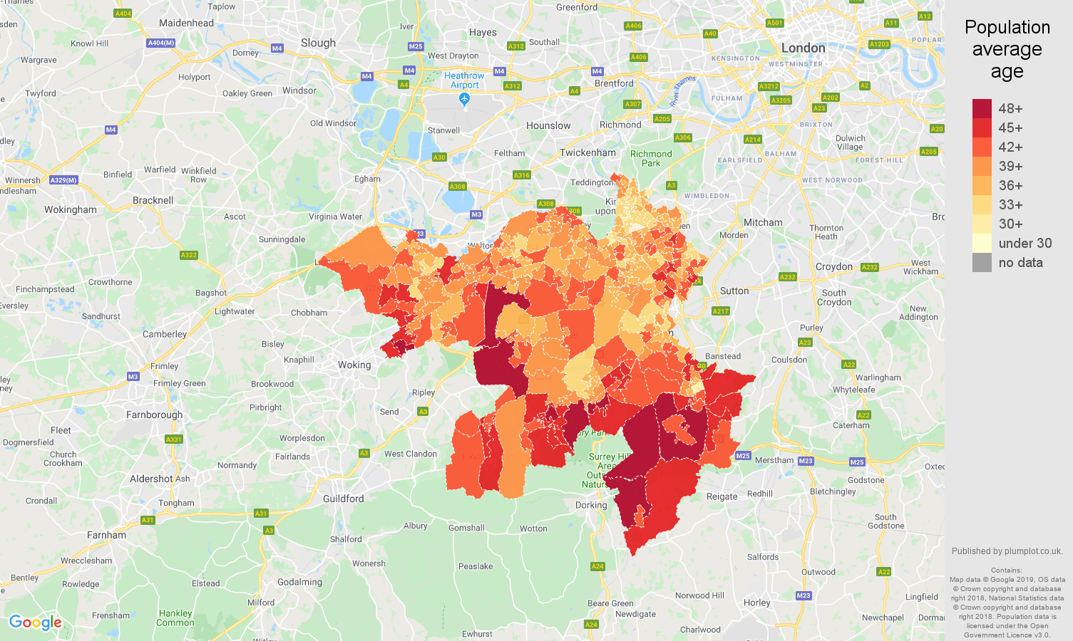 Kingston upon Thames population average age map