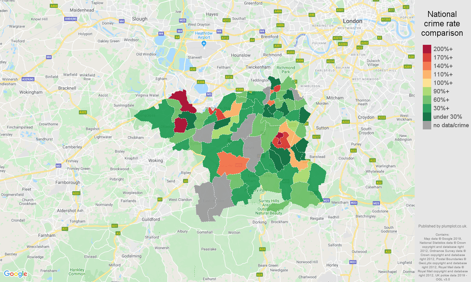 Kingston upon Thames possession of weapons crime rate comparison map
