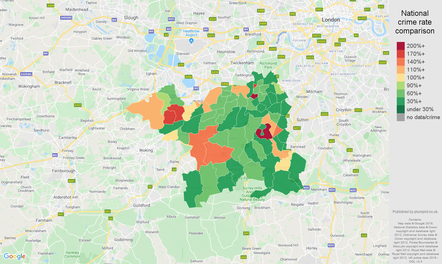 Kingston upon Thames public order crime rate comparison map