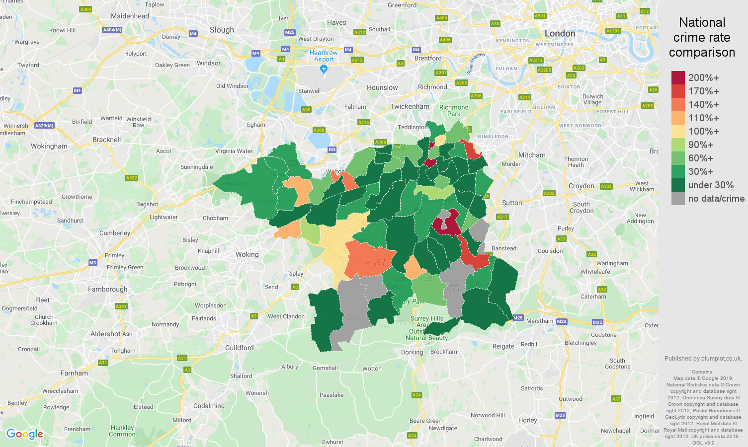 Kingston upon Thames shoplifting crime rate comparison map