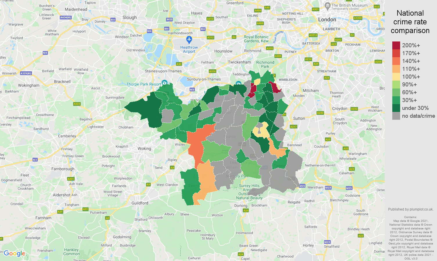 Kingston upon Thames theft from the person crime rate comparison map