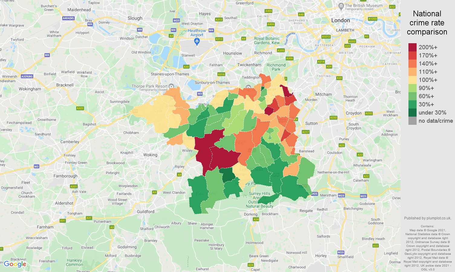 Kingston upon Thames vehicle crime rate comparison map