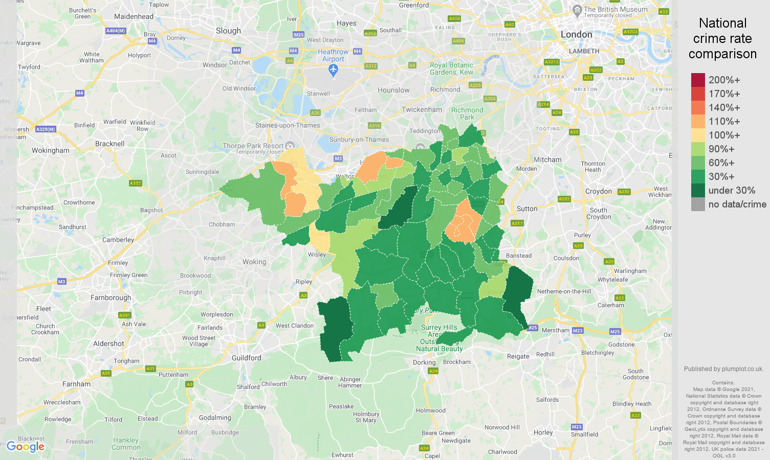 Kingston upon Thames violent crime rate comparison map