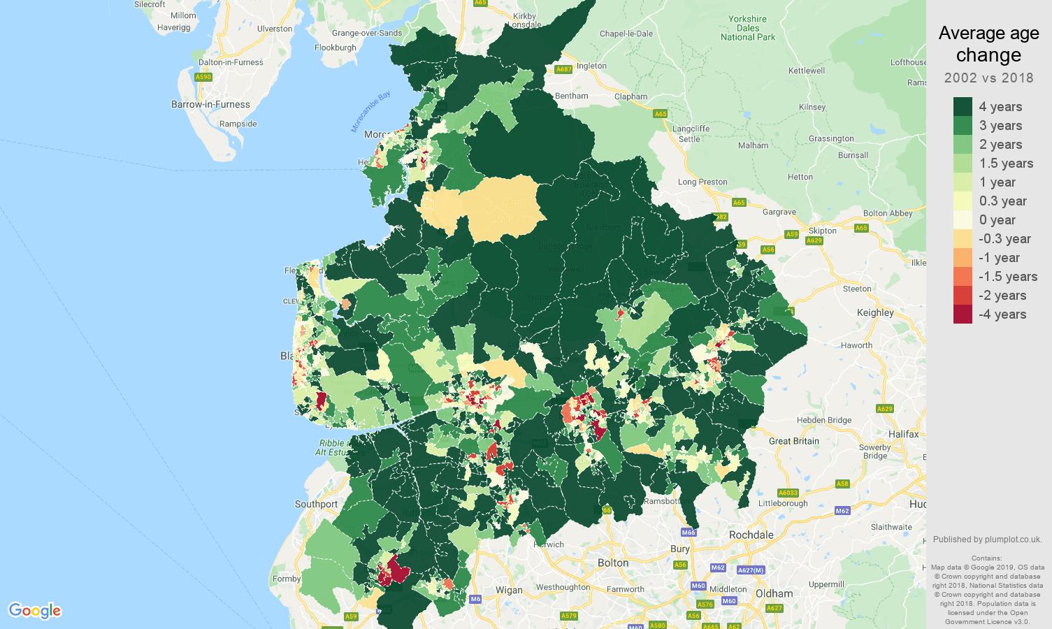 Lancashire average age change map