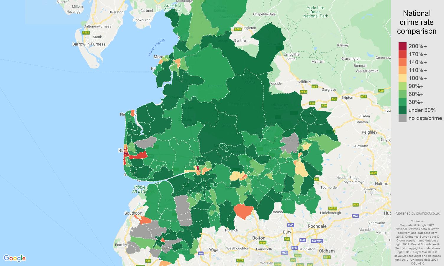 Lancashire drugs crime rate comparison map